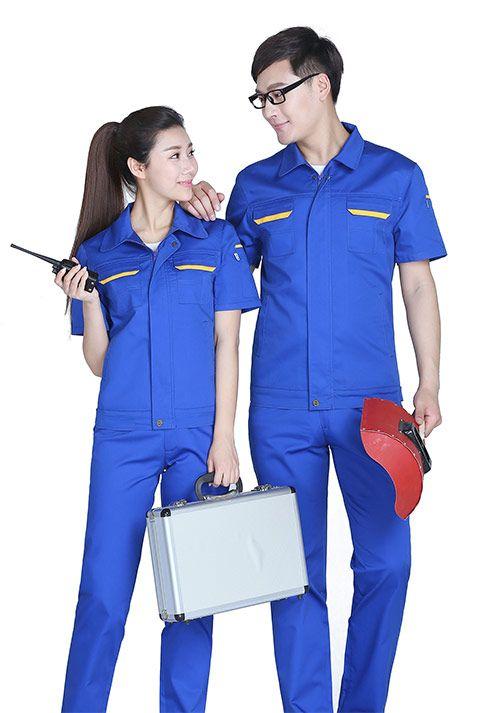 蓝拼黄短袖工作服